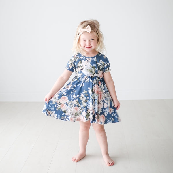 Posh-Peanut-Viscose-Bamboo-Stay-dry-fabric-reliably-chic-and-perfectly-practical-uniquely-designed-of-a-kind-twirl dress in blue rose