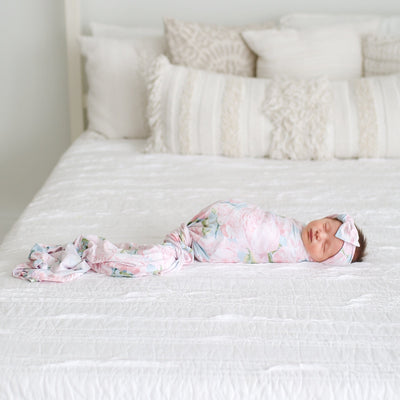 Posh-Peanut-Viscose-Bamboo-Stay-dry-fabric-reliably-chic-and-perfectly-practical-uniquely-designed-of-a-kind-pink peony swaddle