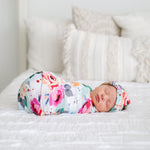 Posh-Peanut-Viscose-Bamboo-Stay-dry-fabric-reliably-chic-and-perfectly-practical-uniquely-designed-of-a-kind-swaddle and headwrap set in fuchsia wild flower