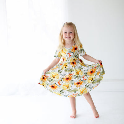 Mustard Orange Floral Twirl Dress