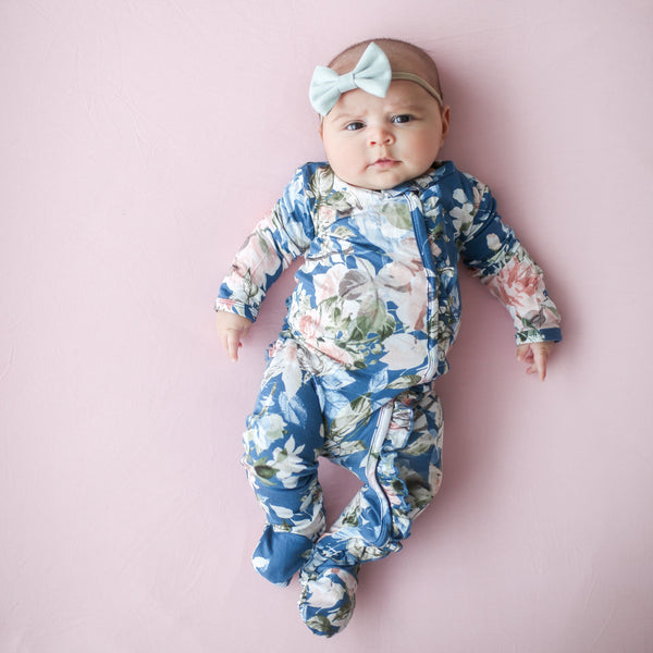 Posh-Peanut-Viscose-Bamboo-Stay-dry-fabric-reliably-chic-and-perfectly-practical-uniquely-designed-of-a-kind-ruffled one piece in blue rose