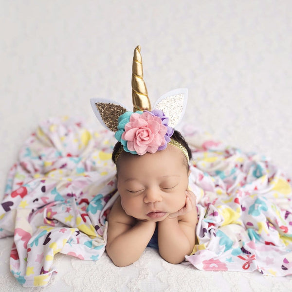 unicorn headbands, newborn unicorn prop, unicorn party favors, unicorn birthday party, unicorn hair clip