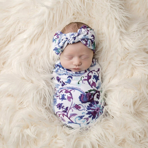 baby swaddle, trendy, infant, newborn, purple, mandala swaddle