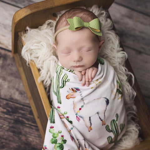 Llama Swaddle and Headband Set