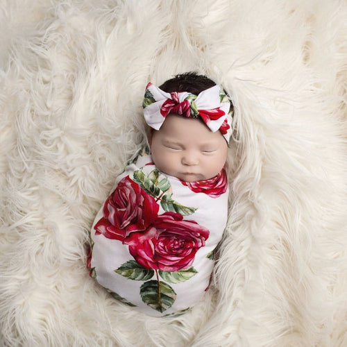 baby swaddle in rose for girl,Posh-Peanut-Viscose-Bamboo-Stay-dry-fabric-reliably-chic-and-perfectly-practical-uniquely-designed-of-a-kind-red-rose-swaddle-set