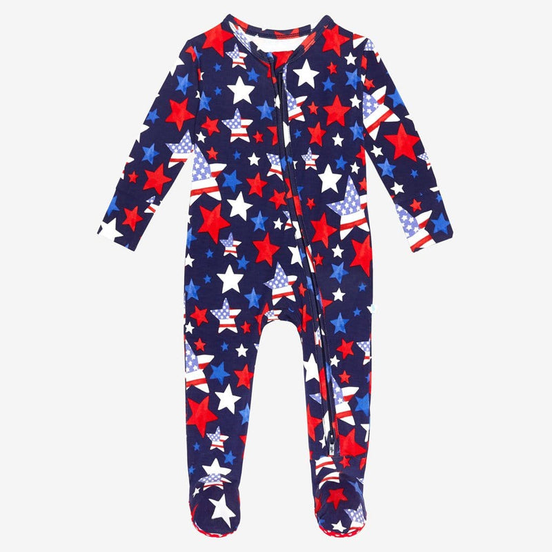 Washington footie zippered one piece
