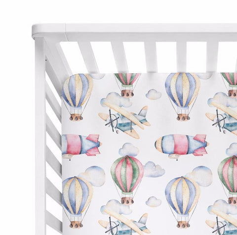 Airplane & Hot Air Balloon Crib Sheet