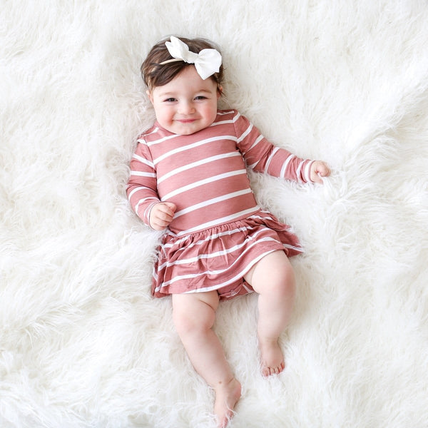 Blush Rose Stripe Long Sleeve Twirl Skirt Bodysuit