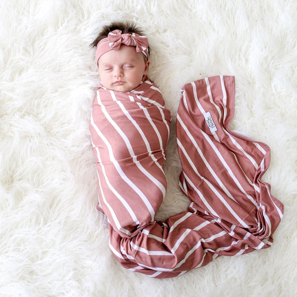 Blush Rose Stripe Swaddle Headband Set