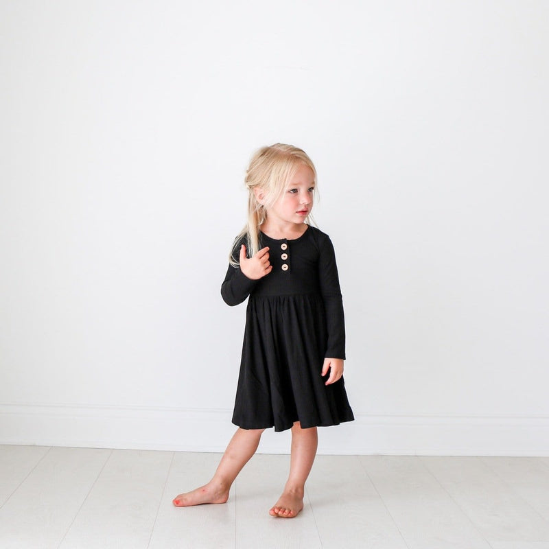 Toddler on Black Ribbed Long Sleeve Twirl Dress