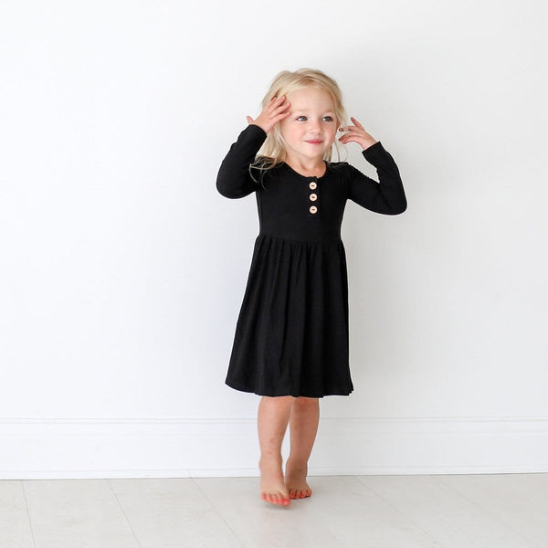 Black Ribbed Long Sleeve Twirl Dress