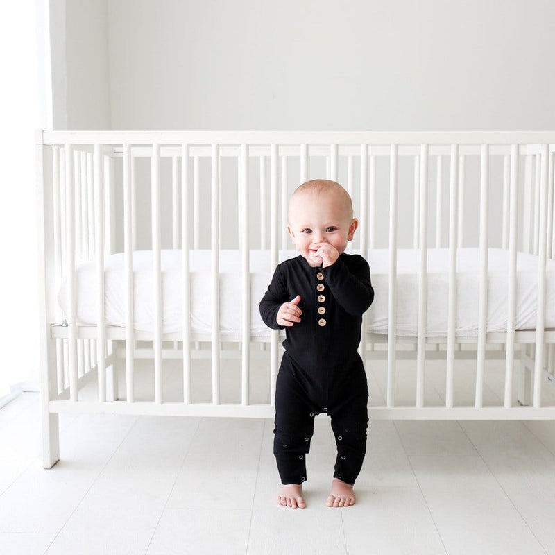 Black Ribbed Henley Romper
