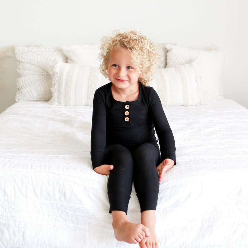 Black Ribbed Henley Pajamas
