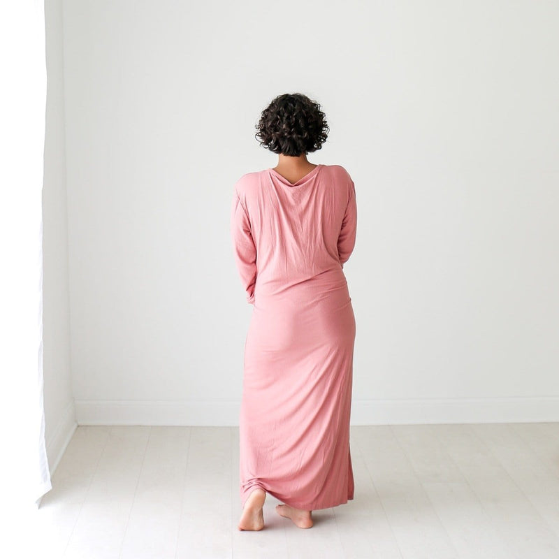 Blush Rose Ribbed Long Sleeve Maxi Dress