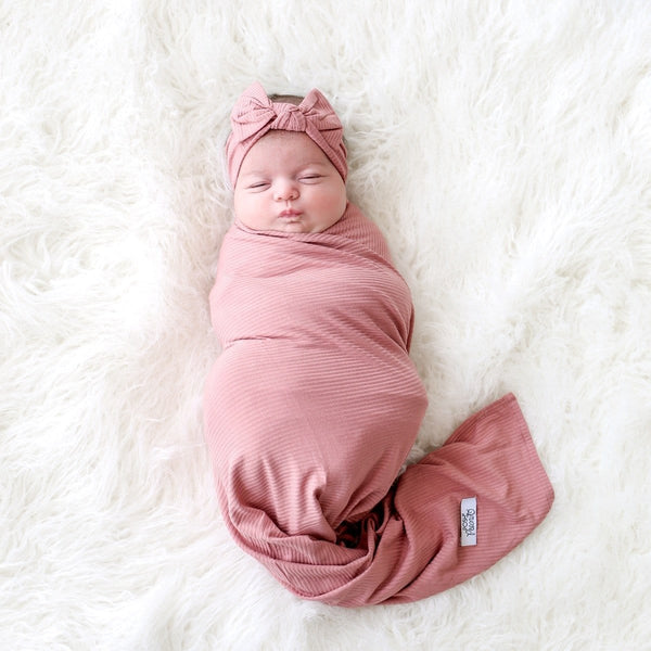 Blush Rose Ribbed Swaddle Headband Set