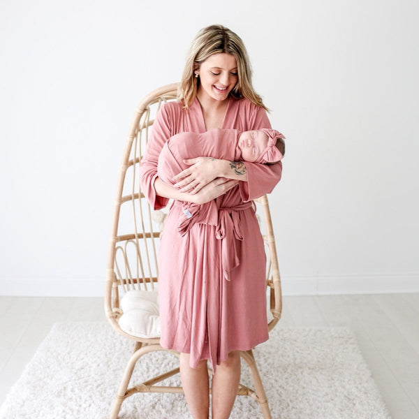 Blush Rose Ribbed Robe - FINAL SALE
