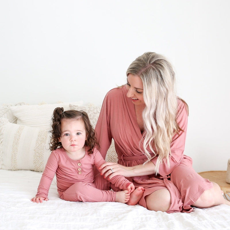 Blush Rose Ribbed Henley Pajamas