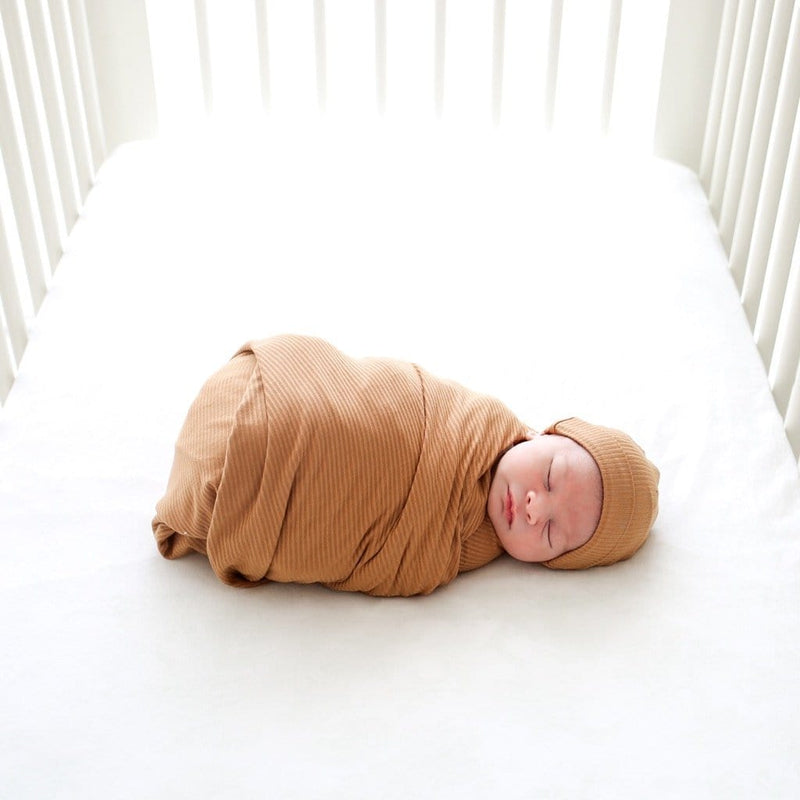 Dark Nude Ribbed Swaddle Beanie Set