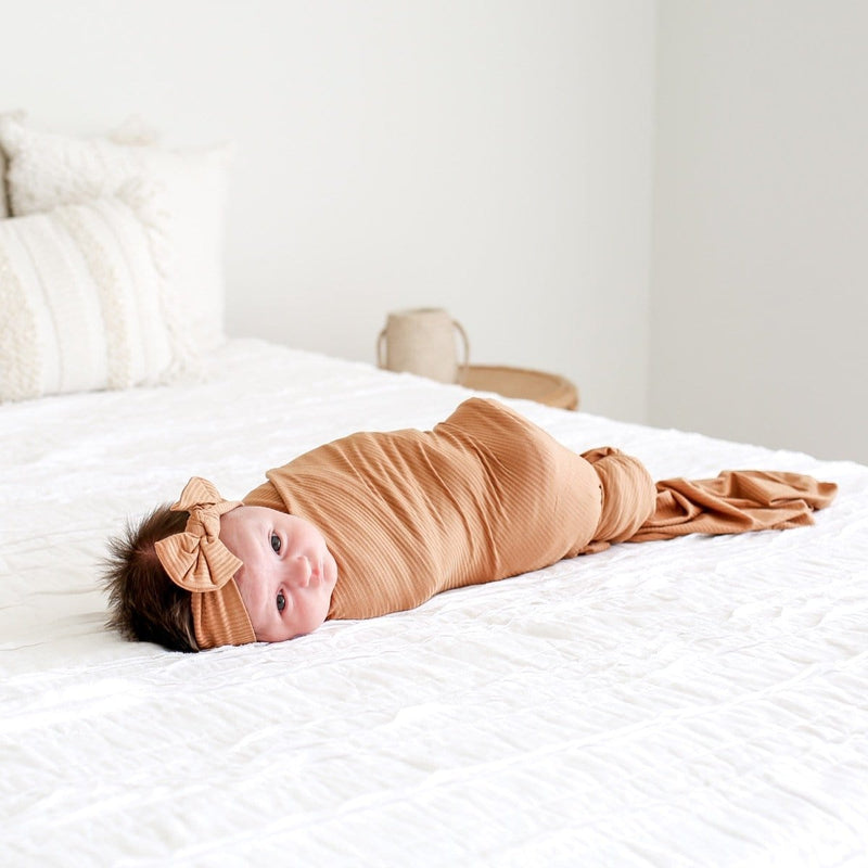 Dark Nude Ribbed Swaddle Headband Set