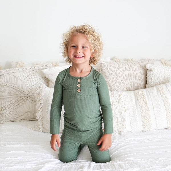 Dark Sage Ribbed Henley Pajamas