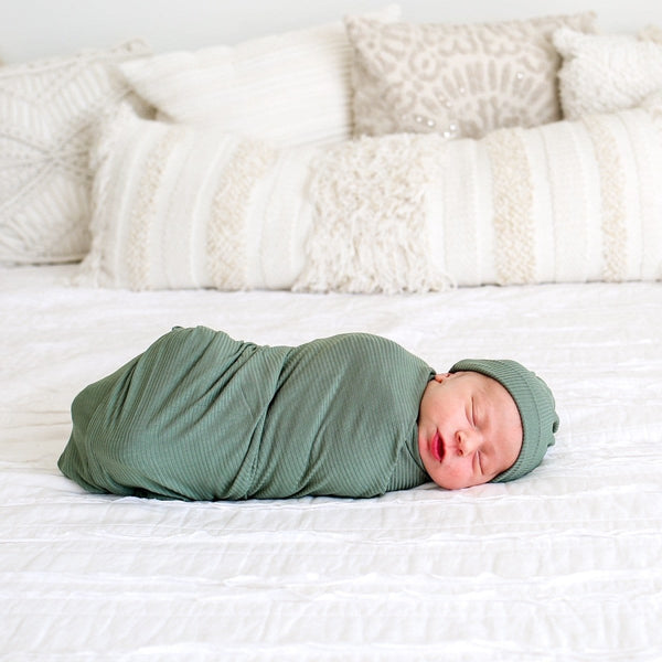 Dark Sage Ribbed Swaddle Beanie Set