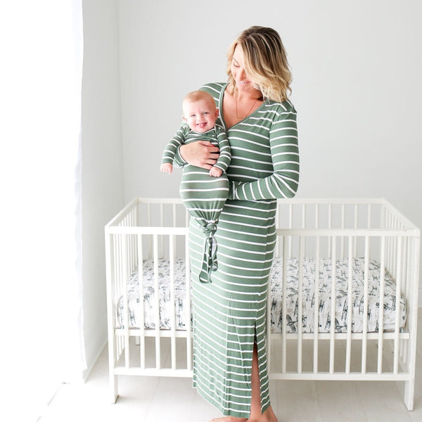 Dark Sage Stripe Long Sleeve Maxi Dress