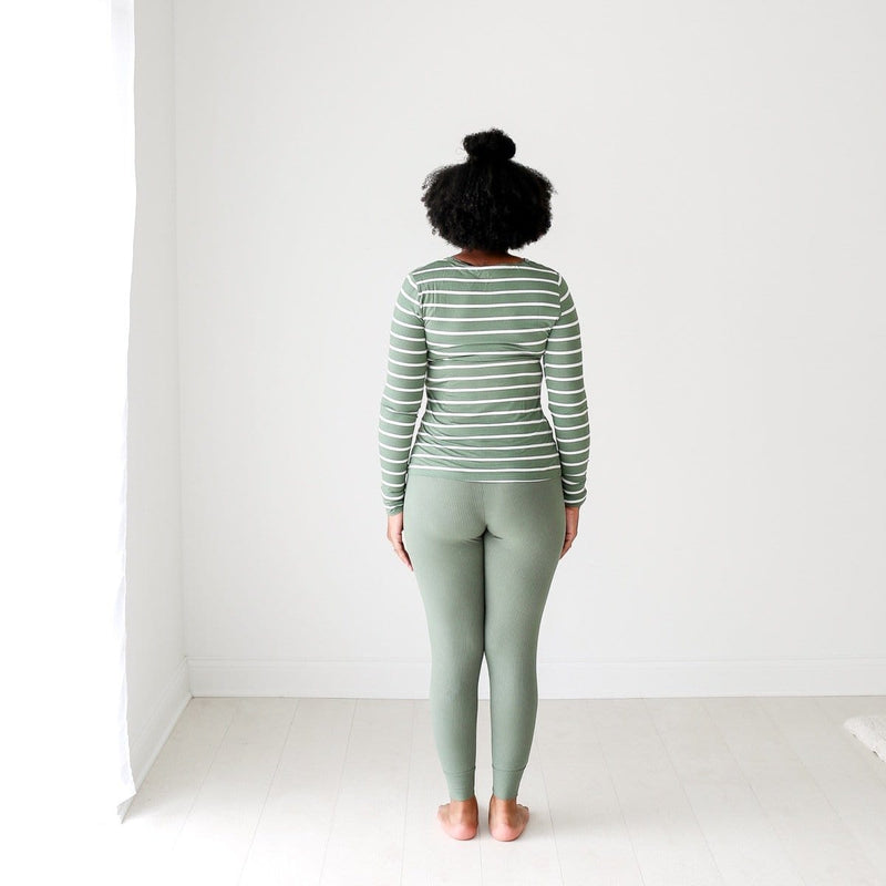 Dark Sage Stripe Women's Loungewear