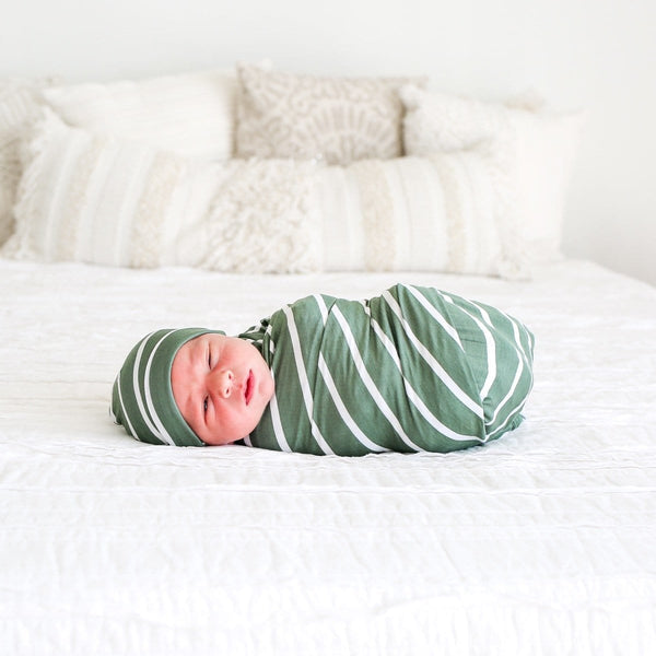 Dark Sage Stripe Swaddle Set