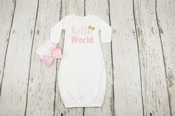 Hello World Baby Newborn Layette Gown