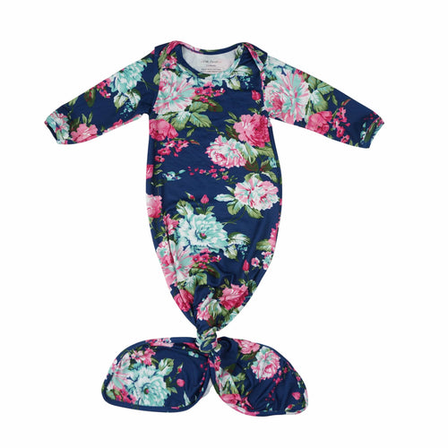 Navy Blue Floral Layette Knotted Gown