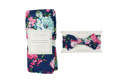 7aad9ac90 ... Navy Blue Floral Double Sided Swaddle Set; swaddle blanket ...