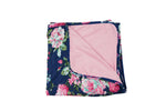 Navy Blue Floral Double Sided Swaddle Set - FINAL SALE