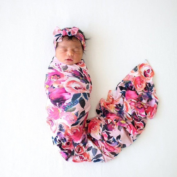 Dusk Rose Swaddle Headband Set