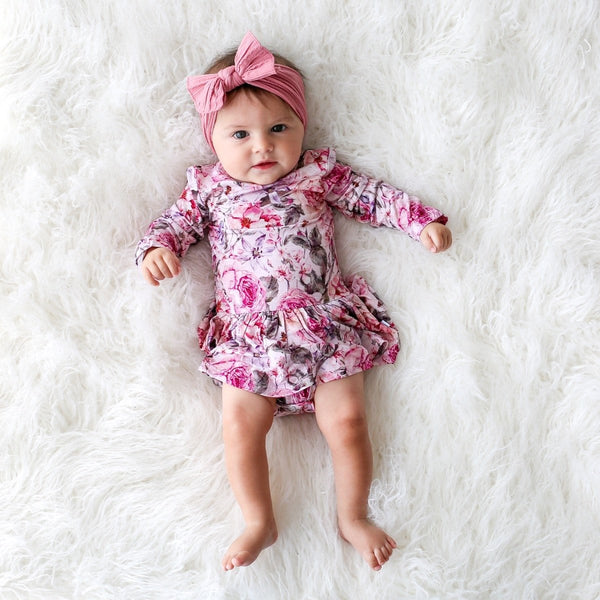 Elise Floral Long Sleeve Twirl Skirt Bodysuit