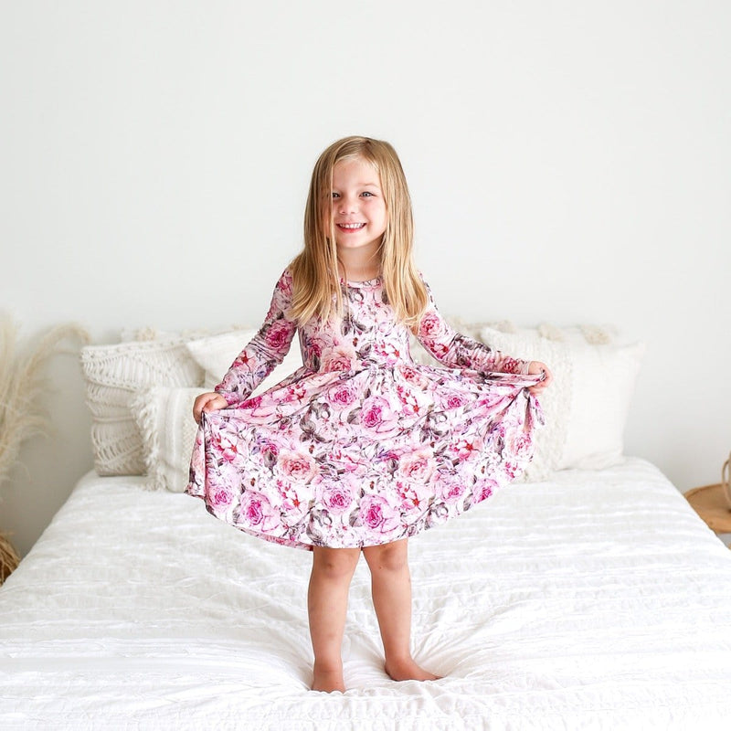 Elise Floral Long Sleeve Twirl Dress