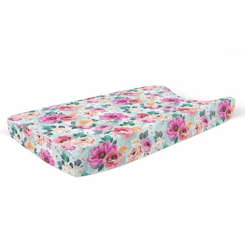Fuchsia Wild Flower Changing Pad Cover