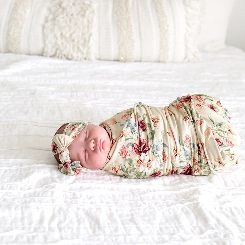 Gia Floral Swaddle Headband Set