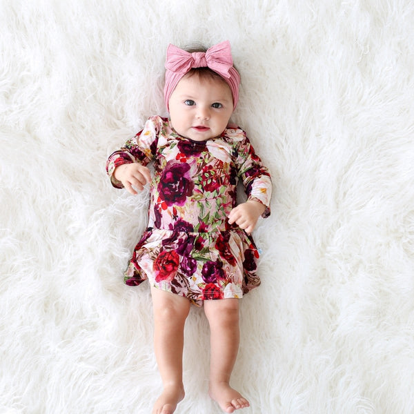 Gracie Floral Long Sleeve Twirl Skirt Bodysuit