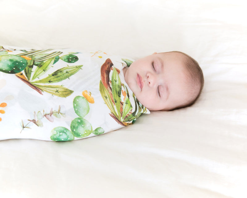 Cactus & Wooden Wheel Swaddle Beanie Set FINAL SALE