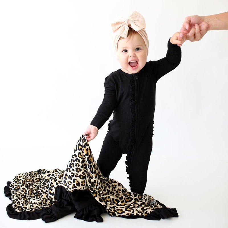 Baby on Lana Leopard Tan & Black Ribbed Ruffled Luxe Patoo