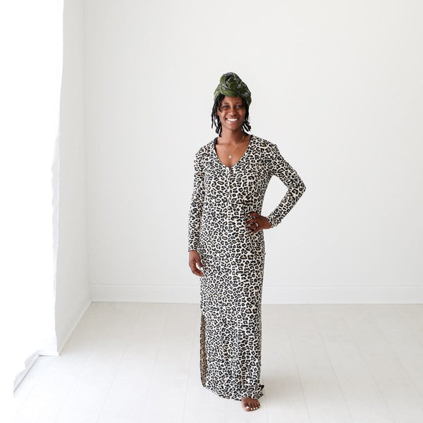Lana Leopard Tan Long Sleeve Maxi Dress