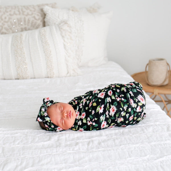 Lina Floral Swaddle Headband Set
