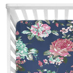 Navy Blue Floral Crib Sheet - FINAL SALE