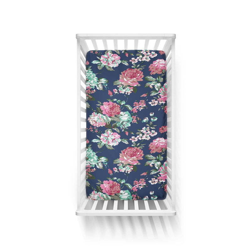 Navy Floral Crib Sheet - FINAL SALE