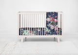 Navy Blue Floral Crib Sheet