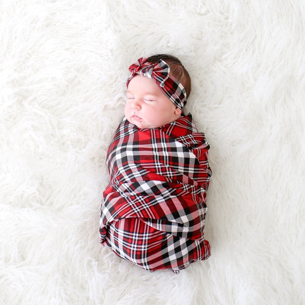 Noah Plaid Swaddle Headwrap Set
