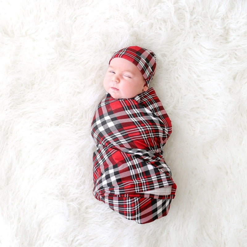 Noah Plaid Swaddle Beanie Set