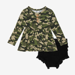Cadet Long Sleeve Henley Peplum Ruffled Bummie Set