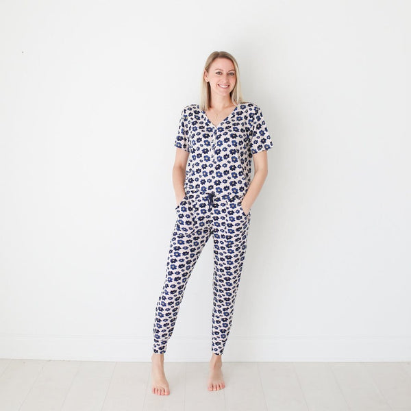 Mommy wearing Alexa women's short sleeve loungewear
