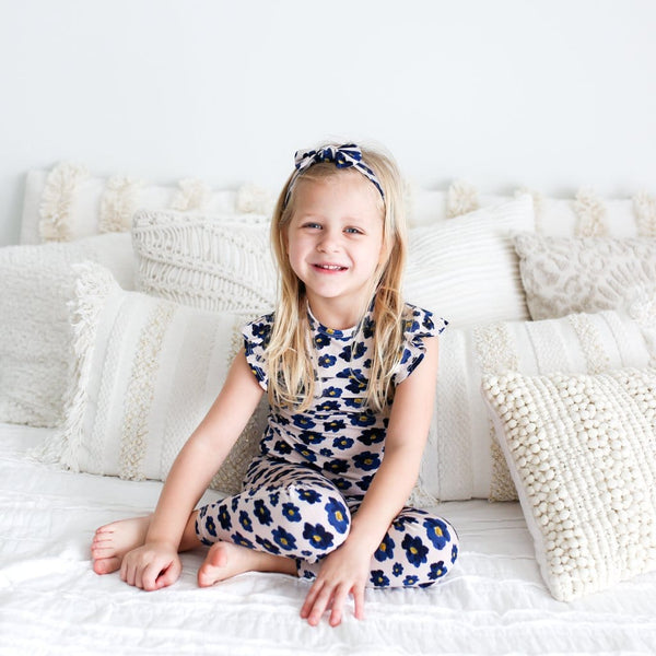 Toddler girl wearing Alexa ruffled cap sleeve pajamas